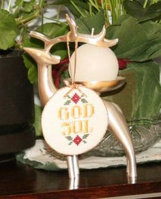 Cross Stitch Christmas Ornament - God Jul Swedish/Norwegian Merry Christmas