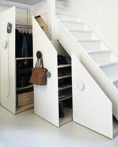 Best hidden storage closet under stairs Ideas Closet Door Storage, Staircase Storage, Stair Storage, Bedroom Storage, Hidden Storage, Shoe Storage, Jewelry Storage, Closet Under Stairs, Under Stairs Cupboard
