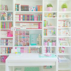 Beautifully filled pastel craft room and office VSCO Room Ideas Beautifully Craft filled office pastel room Craft Closet Organization, Craft Room Storage, Organizing, Stationary Organization, Cute Room Ideas, Cute Room Decor, Study Room Decor, Otaku Room, Craft Room Design