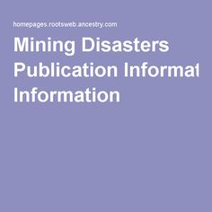 Mining Disasters Publication Information