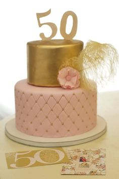 50th birthday cake with gold and pink