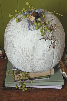 Attention Bookworms: Decoupage A Pumpkin With Old Books! --> http://www.hgtvgardens.com/decorating/pumpkin-decorating-ideas-no-carve-options?s=9&?soc=pinterest