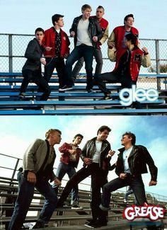 Dos,peli y serie,tan parecidas... Glee haciendo homenaje a Grease