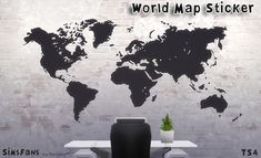 World Map Sticker by Melinda at Sims Fans via Sims 4 Updates