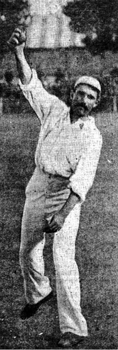 """72-Thomas Robert McKibbin played in 5 Tests from 1895 to 1898. A genial, moustached character, he was an offspinner with an action so suspect that during the Australians' 1896 tour of England it was written that """"there can be little doubt that he continually threw"""". He escaped being no-balled and was deadly when his slow-to-medium pace was aided by a damp wicket."""