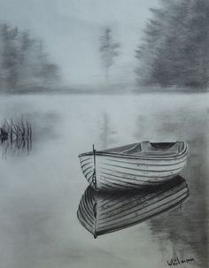Misty row boat sketch, water reflections. Original art, graphite pencil drawing by Elena Whitman.