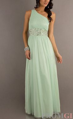 Sage Bridesmaid Dress Chiffon One Shoulder Prom Dress by VEIL8, $117.00 - for Jade's wedding? :D