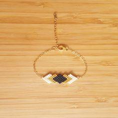 Bracelet Gaia Noir Plaqué Or 14 carats et perles de by Ccedille