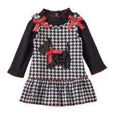 Baby Girl Nannette Bodysuit & Houndstooth Jumper Dress Set, Size: