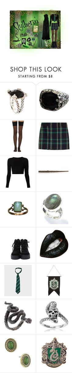 """""""Slytherin"""" by kvlt-witch ❤ liked on Polyvore featuring David Yurman, Wolford, Polo Ralph Lauren, Cushnie Et Ochs, Cameo, WALL, Journee Collection, 1928 and Repossi"""
