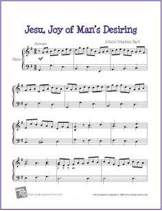 Jesu, Joy of Man's Desiring (Bach) | Free Sheet Music for Piano - http://makingmusicfun.net/htm/f_printit_free_printable_sheet_music/jesu-joy-of-mans-desiring-piano-solo.htm