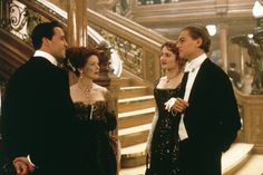 Pin for Later: Swoon Over These Original Titanic Pictures  Billy Zane, Frances Fisher, Kate Winslet, and Leonardo DiCaprio in Titanic.