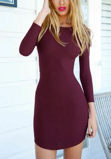 burgundy crisscross back bodycon dress