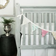 Nursery Reveal: love the crib. Originally black that was painted gray with whitewash