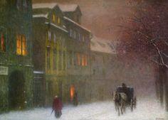 Jakub Schikaneder - Ulice s drozkou v zimnim podveceru / Street with cab in the winter dusk, 1900-1910