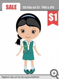 Scout girl digital clip art ideal to create your own decorations for the party. May be used to create invitations, capcake circle and prints for T-shirts. I am sure that the kids will love it! SALE $1