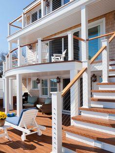 Beach House Deck:Multi-storied decks with CableRail assemblies.