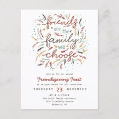 Shop Friendsgiving Typography Thanksgiving Dinner Invitation Postcard created by LuluBell_Paperie. Personalize it with photos & text or purchase as is! Thanksgiving Invitation, Thanksgiving Quotes, Thanksgiving Traditions, Thanksgiving Parties, Friends Thanksgiving, Dinner Invitations, Invitation Ideas, Invites, 23 November