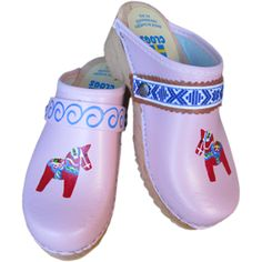 Red Dala Horse on light pink, Snap Strap with your choice of Strap, Tessa Clog