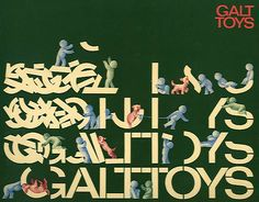 Playing with the logo.   How Ken Garland + Associates had graphic fun with the Galt Toys identity