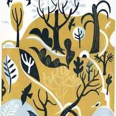 Landscape With Ice House - Melvyn Evans - Limited edition linocut print of woodland scene Textile Prints, Art Prints, Graphisches Design, Linocut Prints, Texture Painting, Woodblock Print, Landscape Paintings, Landscape Prints, Landscapes