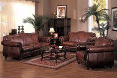 Sofa da cao cấp, khung gỗ Sồi bọc da thật vô cùng đẳng cấp
