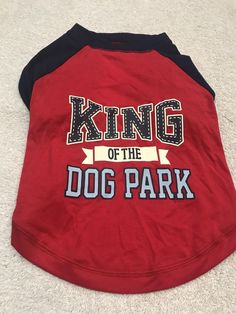 Dog Shirt Size Large Pet Clothes Fashion Outfit King Of The Dog Park Red Blue    eBay