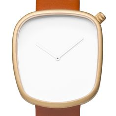 Pebble (white/gold) watch by Bulbul. Available at Dezeen Watch Store: www.dezeenwatchstore.com