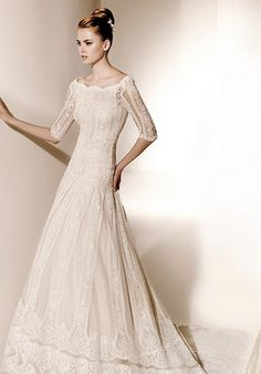 Modest Lace Wedding Dress  This is along the right lines!