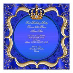 Prince 1st Birthday Boy Royal Blue Gold Crown A Card