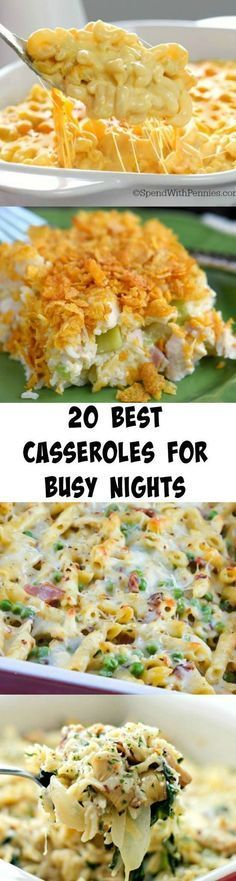 of the Best Casseroles for Busy Nights Everyone needs these recipes! 20 of the BEST Casseroles for Busy Nights!Everyone needs these recipes! 20 of the BEST Casseroles for Busy Nights! I Love Food, Good Food, Yummy Food, New Recipes, Cooking Recipes, Favorite Recipes, Recipies, Dinner Casserole Recipes, Breakfast Casserole