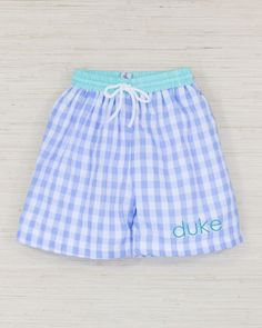 a8141c5e75 Baby Blue Seersucker Checked Swim Trunks with Mint Trim Smockingbird Baby  Swimming