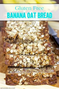 The addition of oats into this classic banana bread recipe yields a delicious Banana Oat Bread that will leave you begging for another slice! @SpicedBlog gluten free