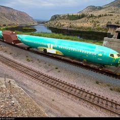 Plane on a train.