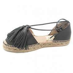 GAIMO Astorga Black Leather Tassels Espadrilles | spanishoponline.com