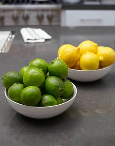 Simple lemons and limes in bowl on counter.  We always do this.  They look pretty and is easy to grab one to add to a glass of water!