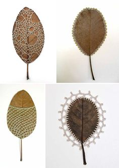 Susanna Bauer, lace and leaves; mixed media http://www.susannabauer.com/  I've mixed gold and silver with leaves as impressions/casting, but this seems fitting. Although, I don't know if I have that kind of patience...
