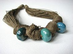 Three turquoise beads  linen necklace by GreyHeartOfStone on Etsy, $29.00