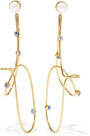 Cornelia Webb - Gold-plated pearl and moonstone earrings Statement Earrings, Drop Earrings, Cornelia Webb, Moonstone Earrings, Rosetta Getty, Rainbow Moonstone, Ear Piercings, Plating, Bangles