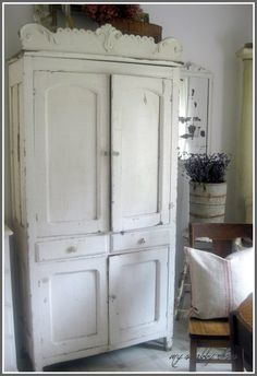 A chippy old armoire will house unslightly electronics, in keeping with the softness of the room  #countryliving #dreambedroom