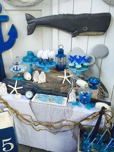 Trendy Baby Boy Birthday Party Ideas First Summer Under The Sea Dolphin Birthday Parties, Baby Boy 1st Birthday Party, Boy Baby Shower Themes, Baby Boy Shower, Lila Baby, Whale Party, Ocean Baby Showers, Bebe Shower, Party Ideas
