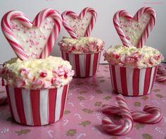 Cottan Candy Cupcakes und Candy Cane Herzen
