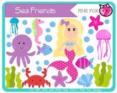 mermaid clipart - sea - ocean - kids clipart