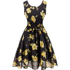 Retro Belted High Waisted Floral Print Tea Dress ($17) ❤ liked on Polyvore featuring dresses, rosegal, floral printed dress, retro dresses, floral print dress, belted dress and floral dresses