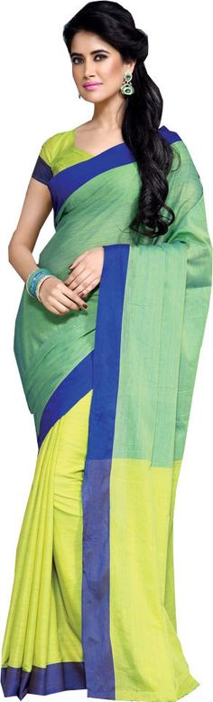 Shaded Green Causal Wear Saree Printed Work Designer Cotton Sari #SareeStudio #SareeSari #CausalWear