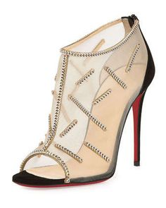 Signifiamma Mesh Red Sole Pump, Black by Christian Louboutin at Neiman Marcus.