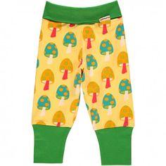 Pants rib, yellow with mushrooms, Maxomorra