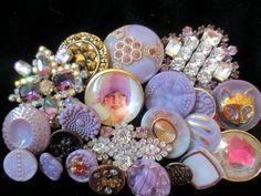 Lavender vintage Czech glass buttons at ♡ Bella Bouton ♡ on Facebook and Etsy.