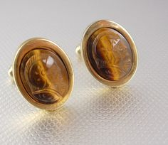 Centurion Cameo Tiger Eye Cufflinks Vintage by NeatstuffAntiques