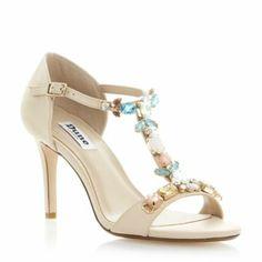 DUNE LADIES Black HUMMINGBIRD - Jewelled T-Bar Heeled Sandal